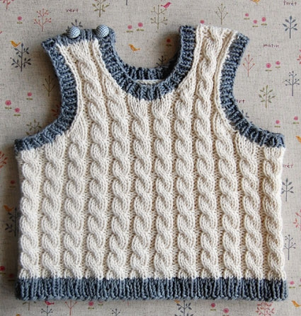 Cabled Baby Vest Purl Soho