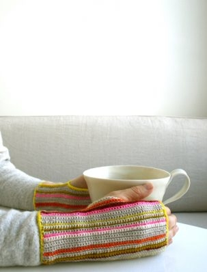 Crocheted Striped Hand Warmers | Purl Soho