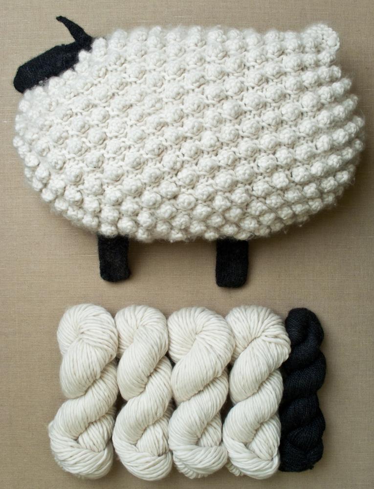 Bobble Sheep Pillow In Super Soft Merino Purl Soho