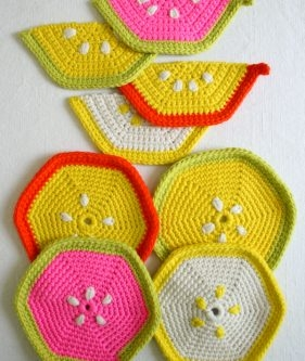 Fruity Trivets + Pot Holders in Super Soft Merino