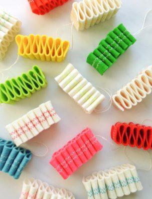 Ribbon Candy Felt Ornaments | Purl Soho