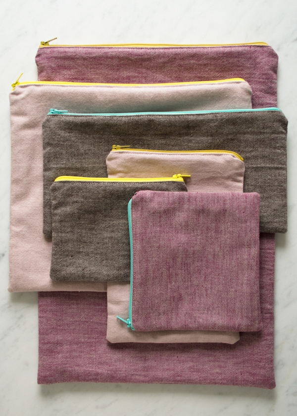 Simple Lined Zipper Pouches | Purl Soho