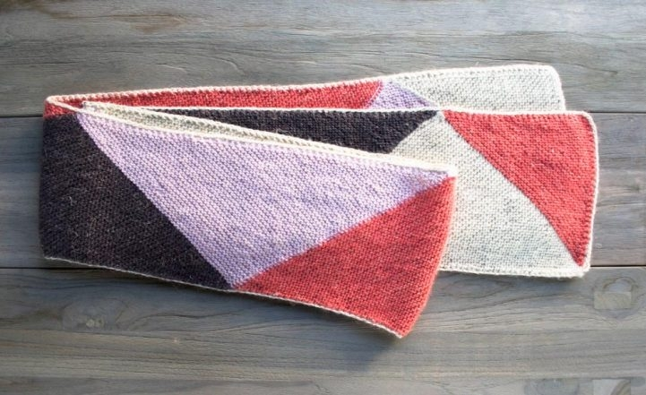 Just Triangles Entrelac Scarf in Flax Down | Purl Soho