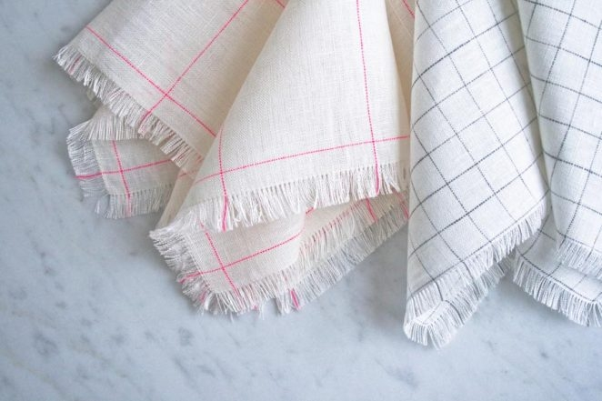 Fringed Napkins in Linen Grid | Purl Soho