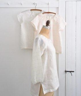 Sewn Raglan Shirt + Tunic in Linen Grid