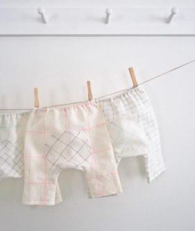 Baby Pants in Linen Grid