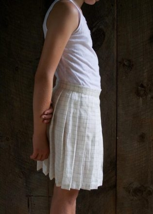 Pleated Skirt in Linen Grid | Purl Soho