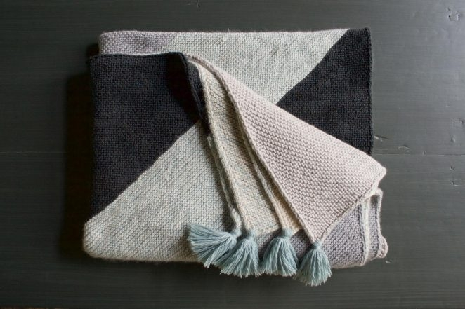 Knitting A Rectangle On The Bias : Rectangular colorblock bias blanket purl soho