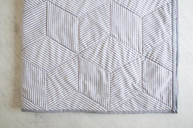 Striped Tumbling Blocks Quilt   Purl Soho