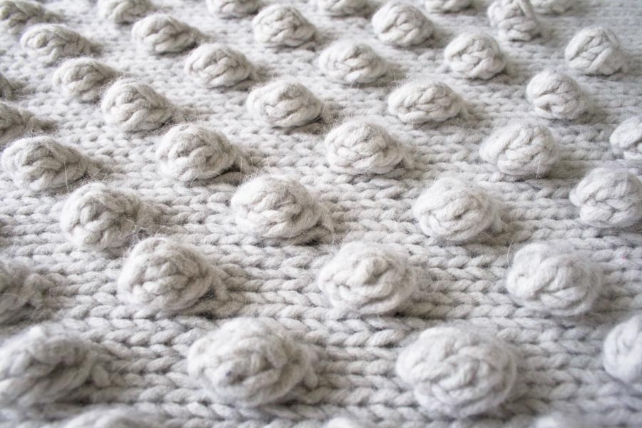 Knit Bobble Stitch In The Round : Falling Bobbles Blanket Purl Soho