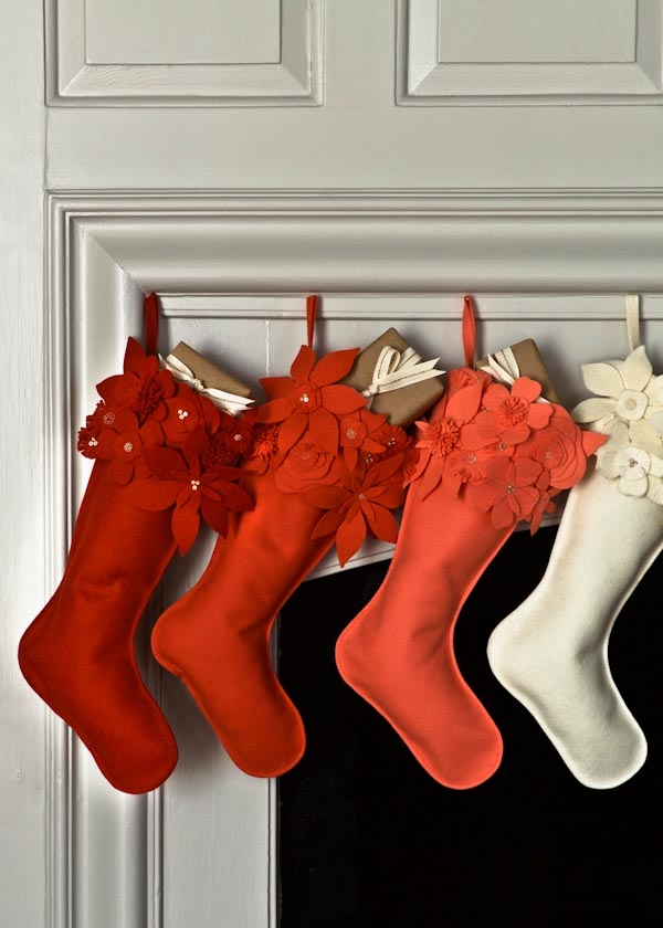 Winter Flower Christmas Stockings