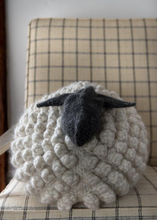 Knitting Pattern For Headbands : Bobble Sheep Pillow in Gentle Giant Purl Soho