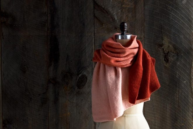 New Color! Our Cashmere Ombré Wrap in Vermilion | Purl Soho