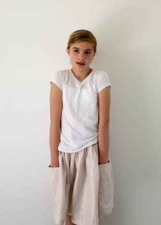 Gathered Skirt for All Ages in Mineral Linen | Purl Soho