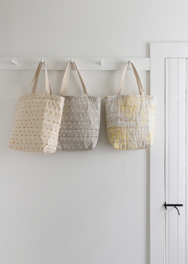 Puffy Tote in Nani Iro's Quilted Double Gauze