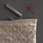 Quilted Zipper Pouches in Mineral Linen
