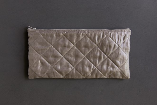 Quilted Zipper Pouches in Mineral Linen | Purl Soho