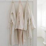 Women's Robe in Linen Grid