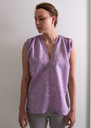 Tunic with Gathered Shoulders in Watercolor Linen | Purl Soho