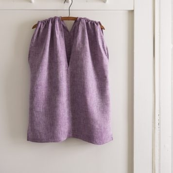 Tunic with Gathered Shoulders in Watercolor Linen