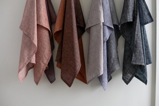 Classic Mitered Corner Dishtowels in Watercolor Linen | Purl Soho