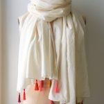 Rolled Hem Tassel Wrap