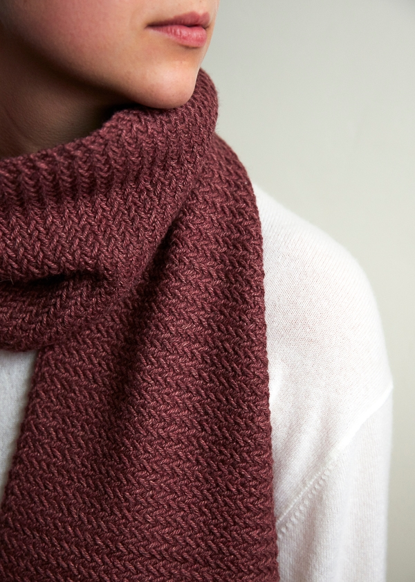 Mini Herringbone Scarf Free Knitting Pattern By Purl Soho