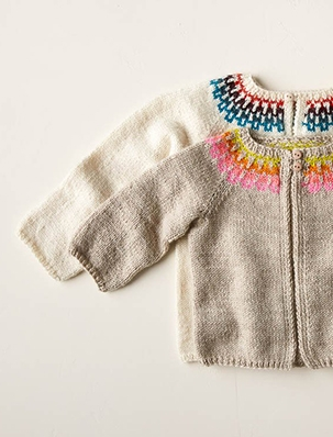 Baby Fair Isle Cardigan In Posy | Purl Soho