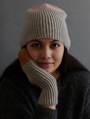 Twisted Rib Hat + Mittens In Cashmere Merino Bloom | Purl Soho