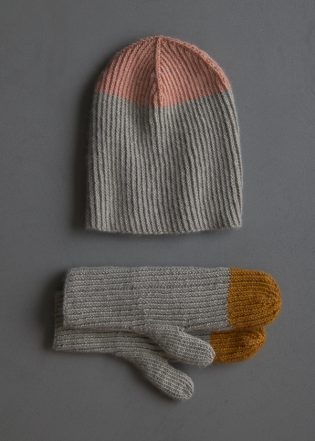 Twisted Rib Hat + Mittens In Cashmere Merino Bloom   Purl Soho