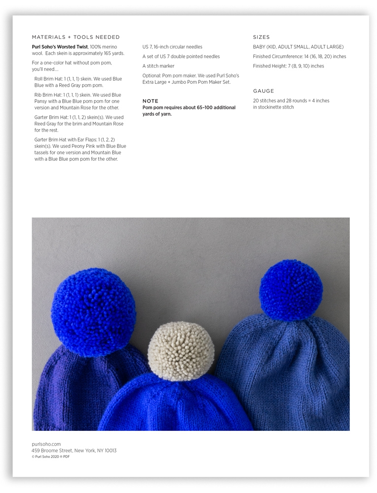 Purl Soho Basic Hats for Everyone Pattern, pdf