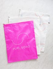 Purl Soho Recycled Zip Bags from Baggu, 3-Pack: Bright Pink + White + White Purl-Bump Logo