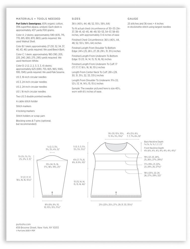 Purl Soho Julie Hoover Gibson Pattern, PDF