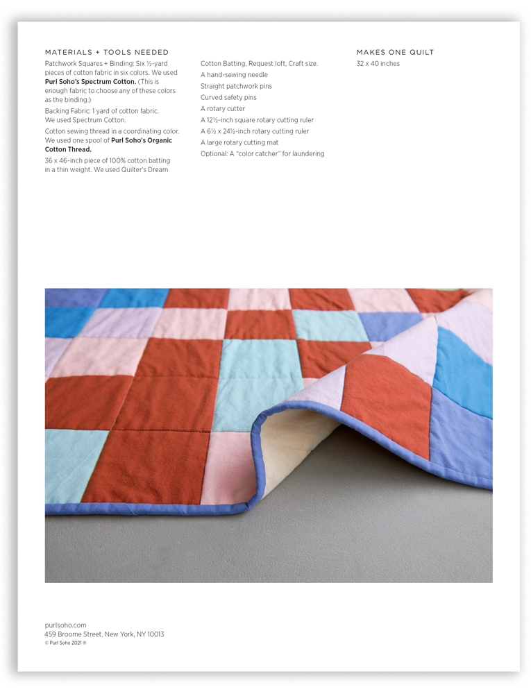 Purl Soho Learn to Sew a Patchwork Quilt Pattern, pdf