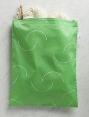 Purl Soho Recycled Zip Bag from Baggu, Aloe Purl-Bump Logo