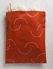 Purl Soho Recycled Zip Bag from Baggu, Tomato Purl-Bump Logo