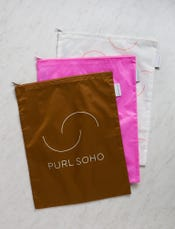 Purl Soho Recycled Zip Bags from Baggu, 3-Pack: Bronze + Bright Pink + White Purl-Bump