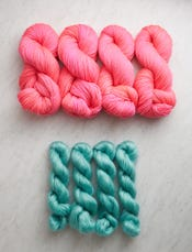 Pink Papaya + Bright Verdigris-swatch
