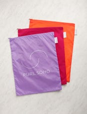 Purl Soho Recycled Zip Bags from Baggu, 3-Pack: Amethyst + Magenta + Orange